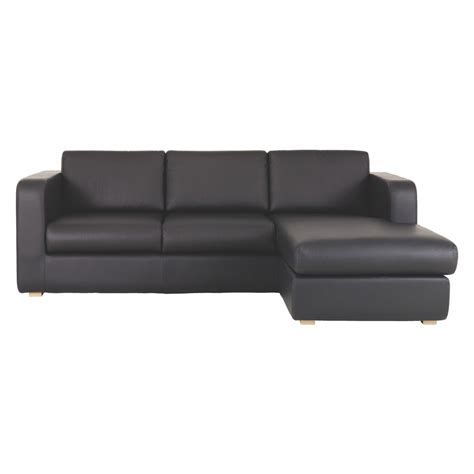 Leather Chaise Sofa Bed Porto Black Leather Reversible Chaise Sofa Bed Buy Now At Habitat Uk