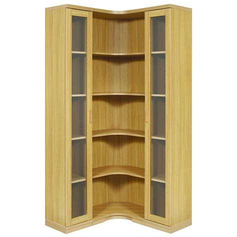 open shelves cabinet l shaped polished particle wood corner cabinet with frosted glass door and several open