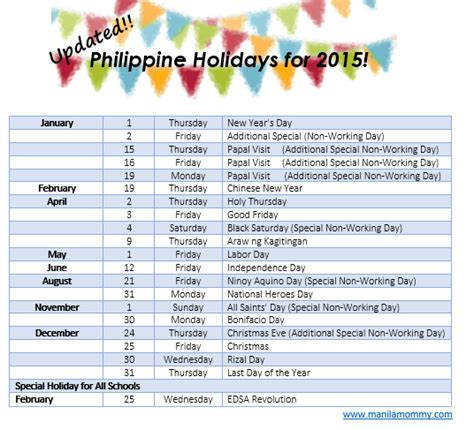 2014 Calendar Philippines Updated Philippine Holidays For 2015 Manilamommy
