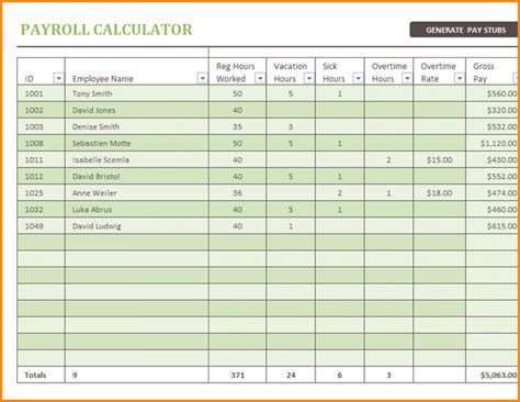 sample payroll spreadsheet simple salary slip
