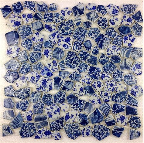 Aluminum Kitchen Backsplash blue porcelain mosaic wall tiles backsplash pcmt116 3d