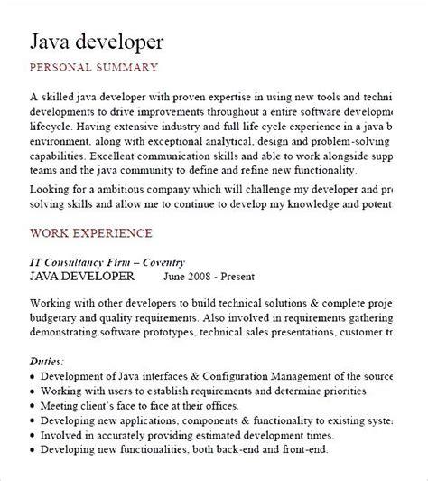 java developer cv template pdf free sles exles format resume curruculum vitae