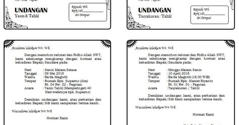 template undangan yasin tahlil download contoh undangan yasin tahlil