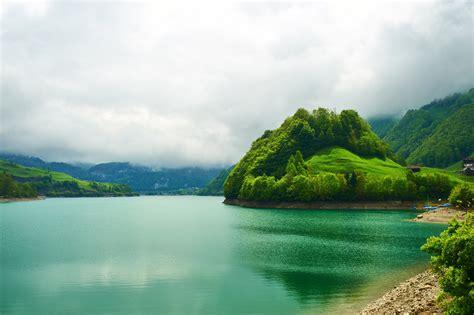switzerland emerald mountain lake landscape beautiful