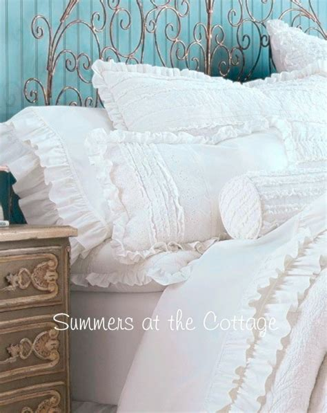 shabby romantic chic white cotton ruffled sheets double