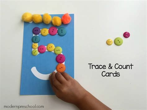 cards preschool preschool trace count number cards free printable