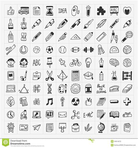 doodle bug locations 100 back to school doodle draw icon set stock