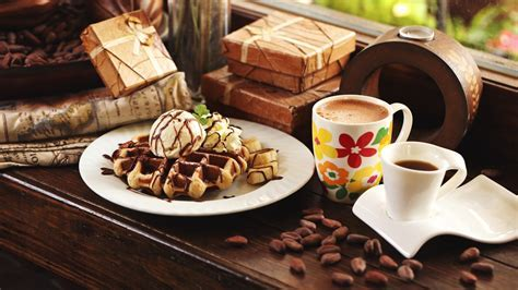 HD Background Waffles Ice Cream Coffee Cup Dessert