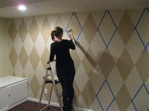 painting the walls how to paint a diamond pattern on your wall maison d or
