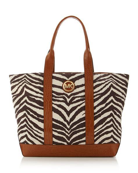 Large Shopping Bag Zebra michael michael kors large canvas tote in brown zebra