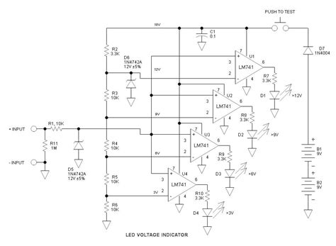 high voltage led indicator circuit 741 circuits and projects