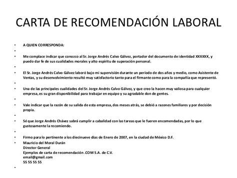 c mo escribir una carta de recomendaci n para carta de recomendaci 243 n laboral