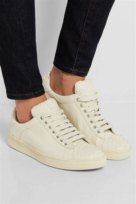 tom ford python sneakers in white lyst