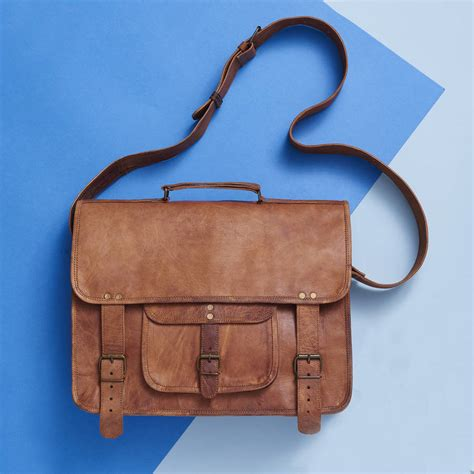 Handmade Leather Laptop Bag - handmade leather laptop bag by vida vida