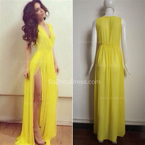 Sexy Chiffon Long V Neck Yellow Evening Dresses Floor