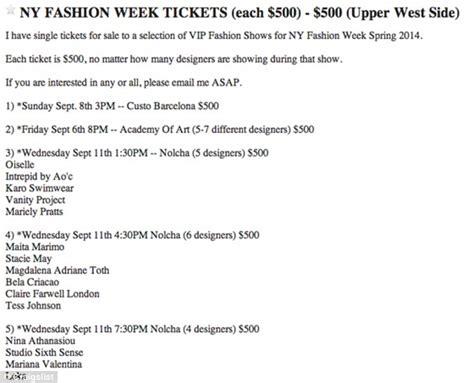 Craigslist Tickets New York Fashion Week Tickets Go Up For Sale On Craigslist