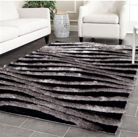Gray Area Rugs Contemporary Safavieh Tufted Silken Black Grey 3d Shag Area Rugs Sg551e