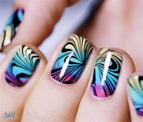 water nail nail gradient water marble le test pshiiit