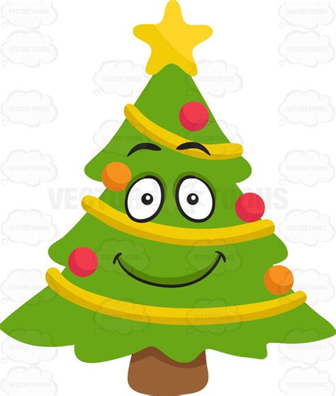 christmas tree emoji a smiling tree clipart by vector