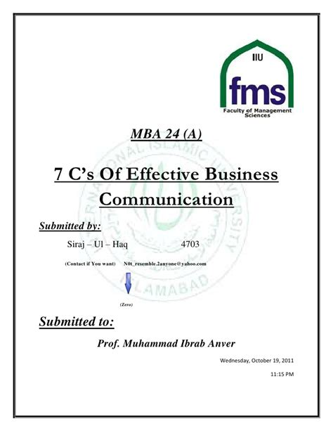 Mba Buisness Communication by Seven C S Of Communication
