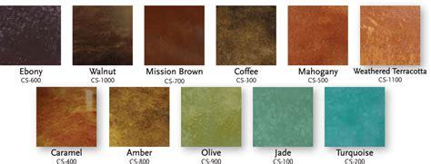 concrete acid stain color chart concrete coatings