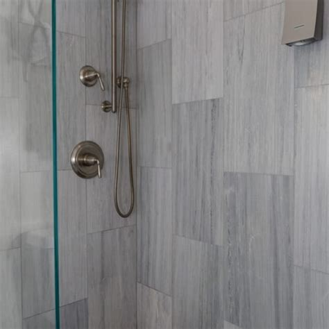 vertical tile shower el bathroom custom shower gray flannel honed marble