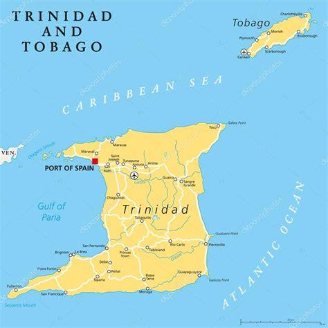 and tobago political map und tobago kapital karte
