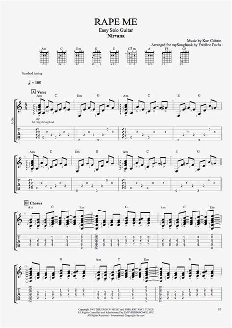 guitar tutorial nirvana rape me by nirvana easy solo guitar guitar pro tab