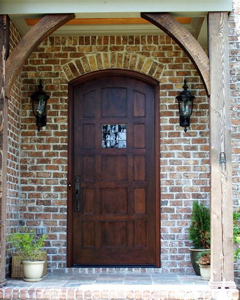 Modern Interior Wooden Front Door Big Window Front Exterior Doors For Homes