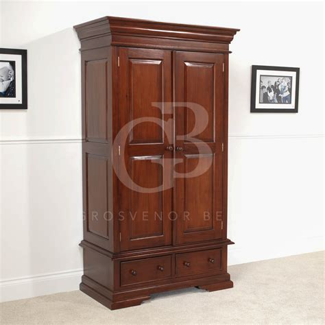 Wardrobe With Drawers And Hanging New Solid Mahogany Wardrobe Hanging Rail Two