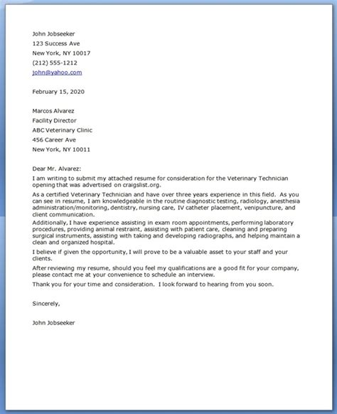 Cover Letter Technologist by Vet Tech Cover Letter