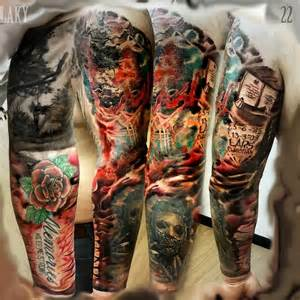 colored sleeve tattoos 30 great sleeve tattoos by maksims zotovs