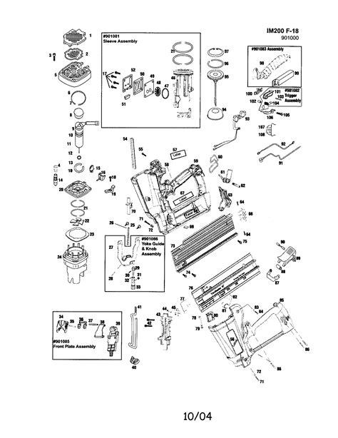 paslode framing nailer parts diagram paslode cordless finish nailer parts model im200f18