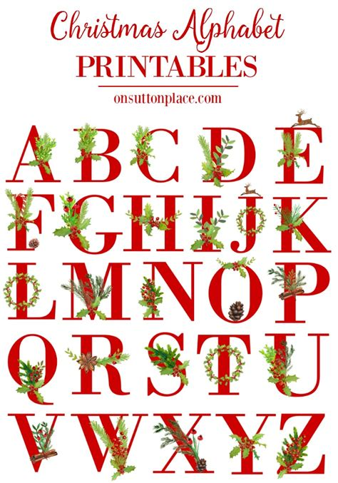 printable alphabet set christmas alphabet letters christmas decore