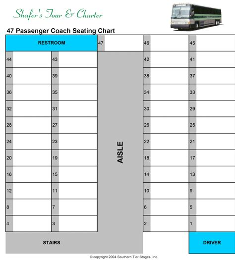 charter seating chart seating chart 56 passenger school seating chart