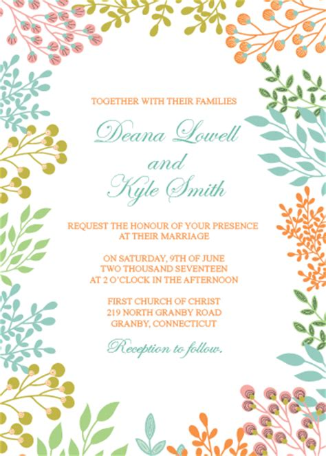 spring leaves 2017 printable wedding invitation set