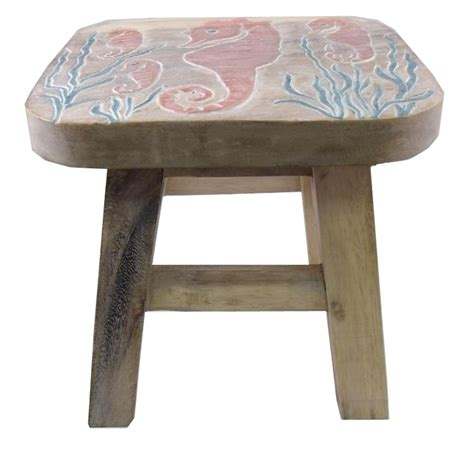 child step stool tropical seahorse in sea grass childs wooden step stool ebay