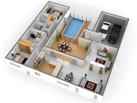 3d House Plans by Free 3 Bedroom 3d House Plans This For All