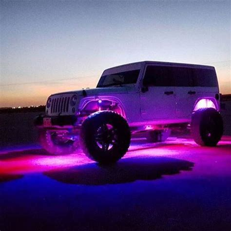 light purple jeep bluetooth remote 8pc rgb led rock light pod kit vivid