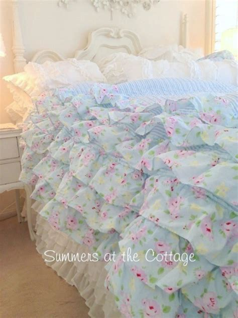 pink shabby chic bedding shabby beach cottage blue petticoat ruffled quilt bella