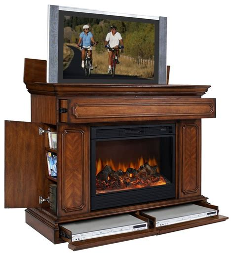 electric fireplace tv cabinet remington lcd tv lift cabinet w electric fireplace base
