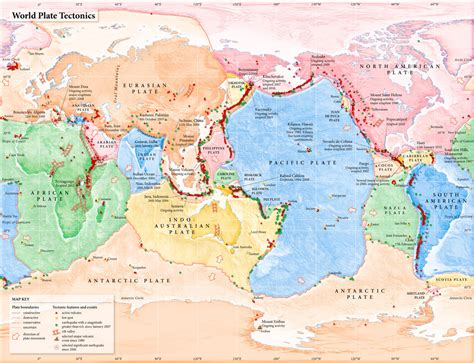 plate boundaries map world plate tectonics map thematic map of the world s plates and tectonic features merritt