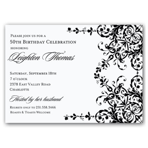 printable birthday party invitations in black and white elegant garland black and white birthday invitations