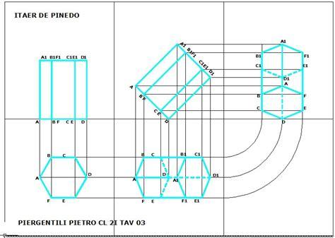 proiezioni ortogonali lettere disegno prisma a base esagonale