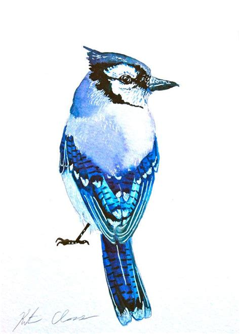 painted bird tattoo watercolor painting blue bird painting original by