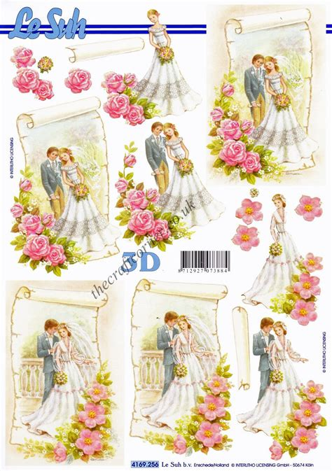 Wedding Decoupage Sheets - groom with flowers 3d decoupage sheet