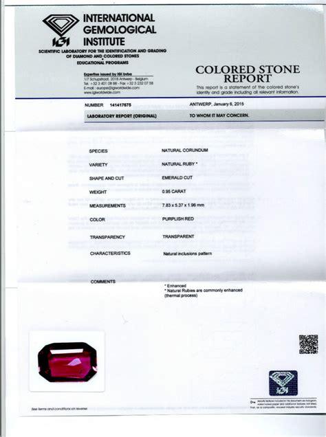 Ruby 5 95 Carat rubis igi 0 95 carat mozambique rectangulaire