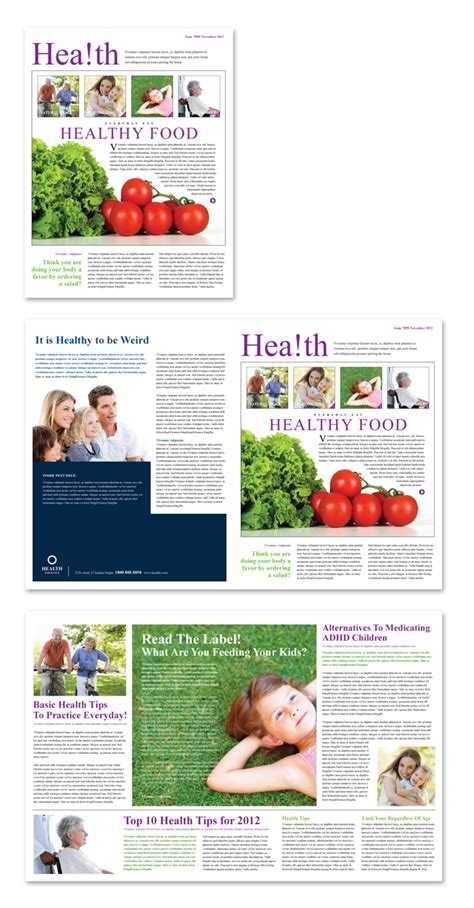 Health Insurance Company Newsletter Template Wellness Newsletter Templates