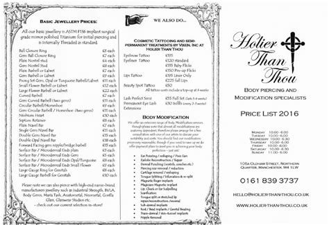 tattoo prices oldham price list holier than thou