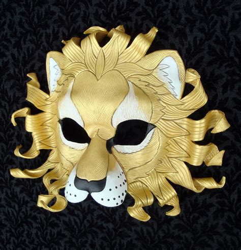 gold film craft lion custom gold sun lion mask made to order handmade leather